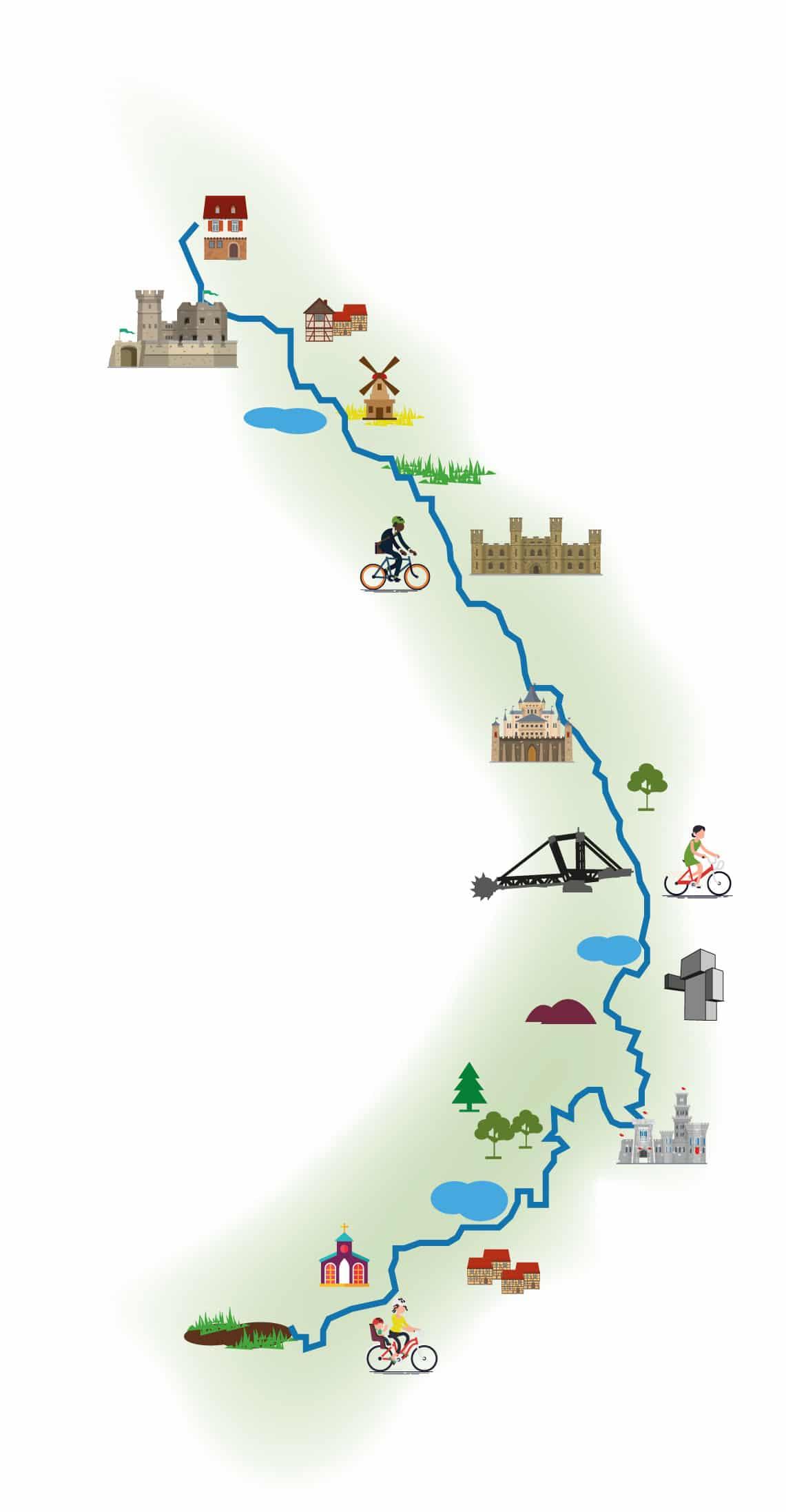 RurUfer-Radweg Illustrierte Karte